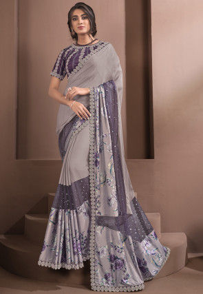 Embroidered Georgette Silk Saree in Lilac