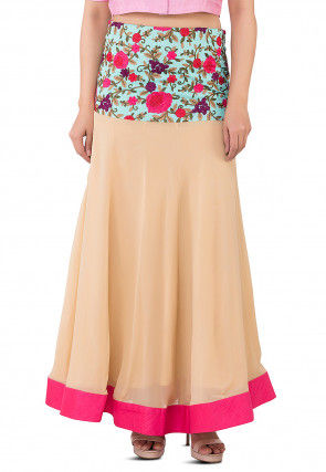 Embroidered Georgette Skirt in Beige