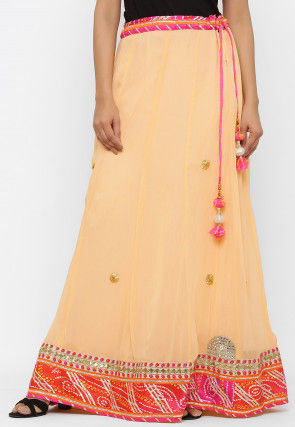 Embroidered Georgette Skirt in Peach