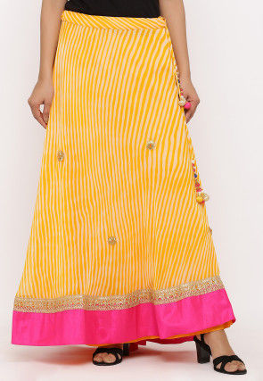 Embroidered Georgette Skirt in Yellow