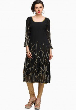 Embroidered Georgette Straight Kurta in Black