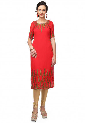 Embroidered Georgette Straight Kurta in Coral Red