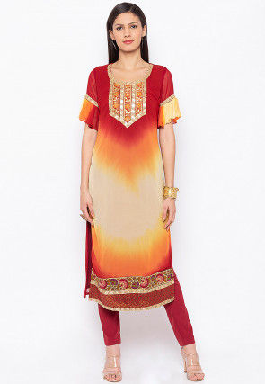 Embroidered Georgette Straight Kurta in Multicolor