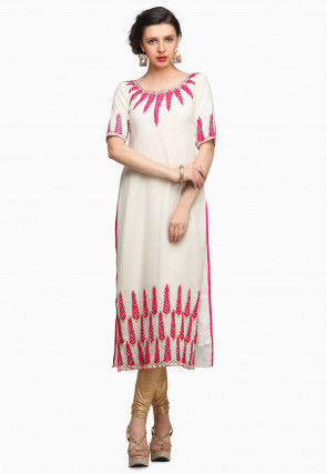 Embroidered Georgette Straight Kurta in Off White