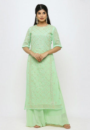 Embroidered Georgette Straight Kurta in Pastel Green