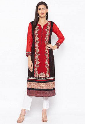 Embroidered Georgette Straight Kurta in Red and Black