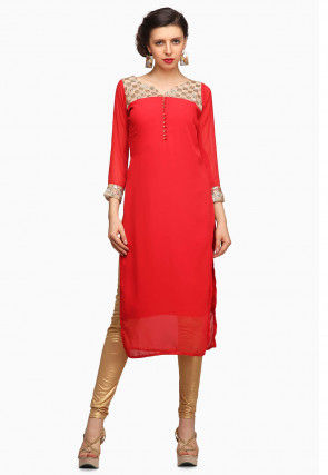 Embroidered Georgette Straight Kurta in Red