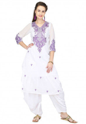 Embroidered Georgette Straight Kurta in White