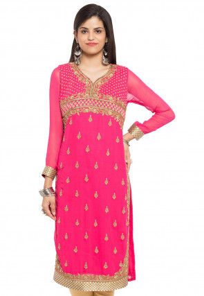 Embroidered Georgette Straight Kurta in Pink