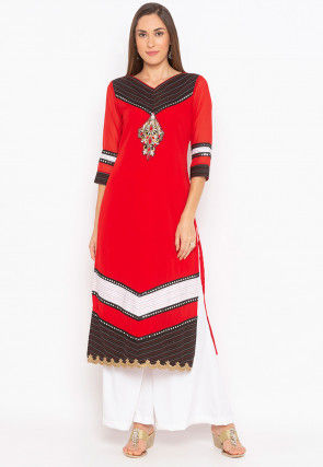 Embroidered Georgette Straight Kurta Set in Red