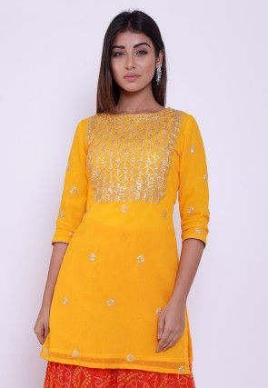 Embroidered Georgette Straight Kurti in Yellow