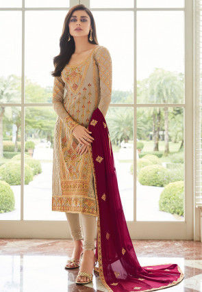 Embroidered Georgette Straight Suit in Beige