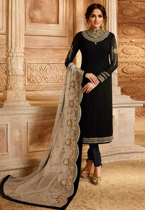 Embroidered Georgette Straight Suit in Black