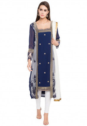 Embroidered Georgette Straight Suit in Blue and Off White
