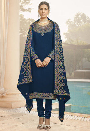Embroidered Georgette Straight Suit in Dark Blue