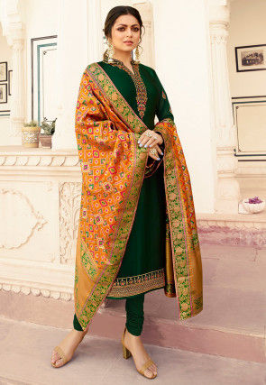 Embroidered Georgette Straight Suit in Dark Green