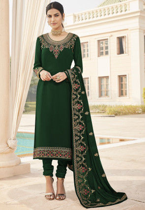 Embroidered Georgette Straight Suit in Dark Green
