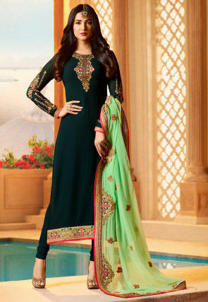 Embroidered Georgette Straight Suit in Dark Teal Green