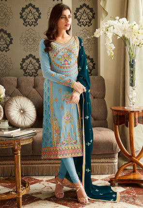 Embroidered Georgette Straight Suit in Light Blue