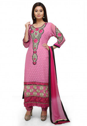 Embroidered Georgette Straight Suit in Light Pink