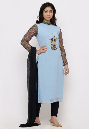 Embroidered Georgette Straight Suit in Light Sky Blue
