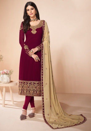 Embroidered Georgette Straight Suit in Maroon