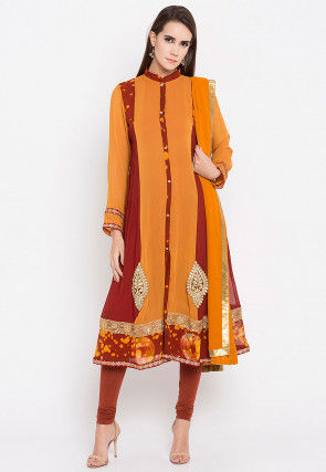 Embroidered Georgette Straight Suit in Mustard and Brown