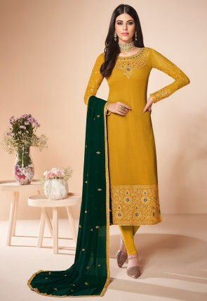 Embroidered Georgette Straight Suit in Mustard