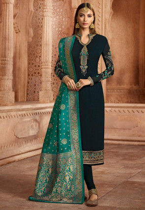 Embroidered Georgette Straight Suit in Dark Teal Blue