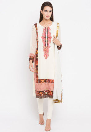 Embroidered Georgette Straight Suit in Off White