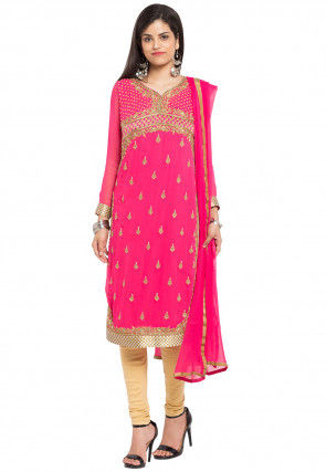 Embroidered Georgette Straight Suit in Pink
