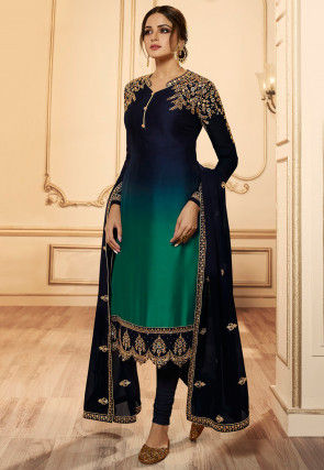Embroidered Georgette Straight Suit in Shaded Blue and Green