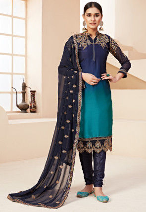 Embroidered Georgette Straight Suit in Shaded Blue