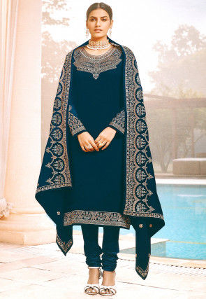 Embroidered Georgette Straight Suit in Teal Blue