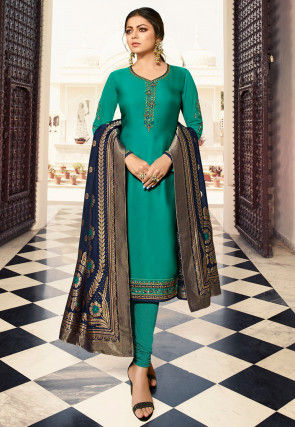 Embroidered Georgette Straight Suit in Teal Green