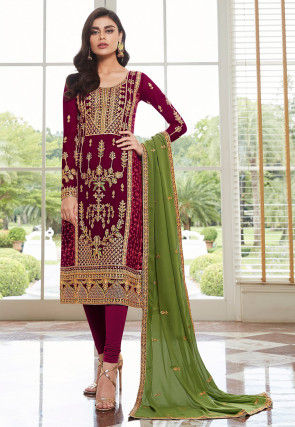 Embroidered Georgette Straight Suit in Wine