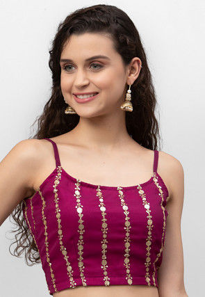 Embroidered Georgette Strappy Crop Top in Magenta