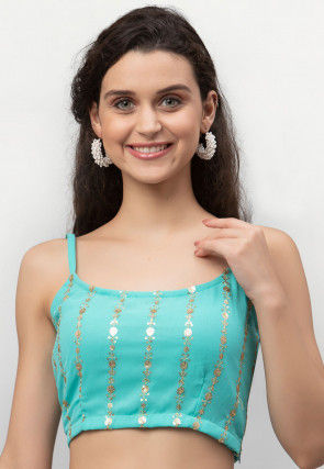 Embroidered Georgette Strappy Crop Top in Turquoise