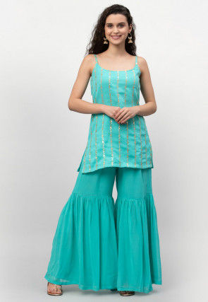 Embroidered Georgette Strappy Kurta Set in Turquoise