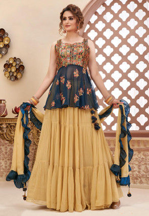 Embroidered Georgette Tiered Lehenga in Beige