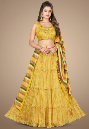 Embroidered Georgette Tiered Lehenga in Mustard