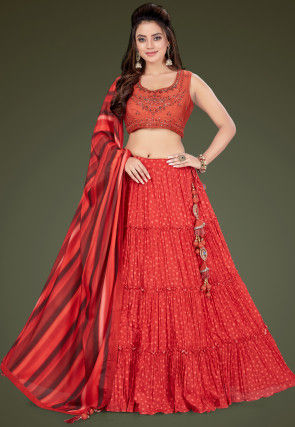 Embroidered Georgette Tiered Lehenga in Red