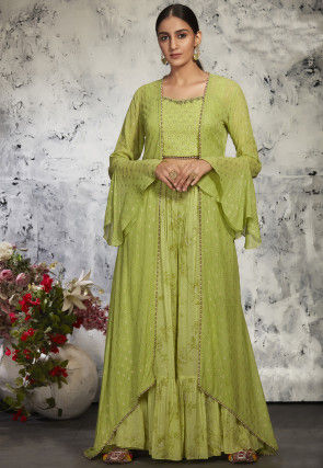 Embroidered Georgette Top and Jacket Set in Light Green