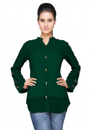Embroidered Georgette Top in Dark Green