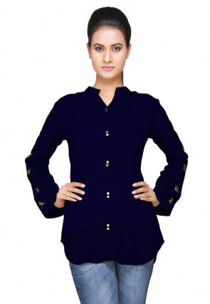 Embroidered Georgette Top in Navy Blue