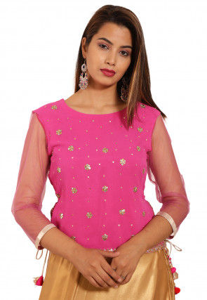 Embroidered Georgette Top in Pink