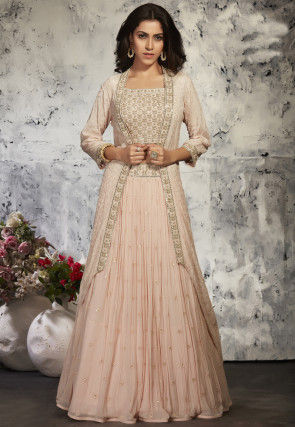 Embroidered Georgette Top Jacket Set in Baby Pink