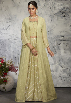 Embroidered Georgette Top Jacket Set in Pastel Green