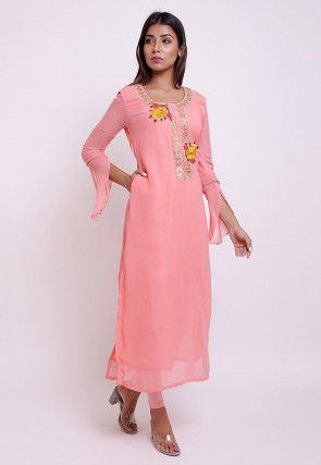 Embroidered Georgette Top N Bottom in Peach