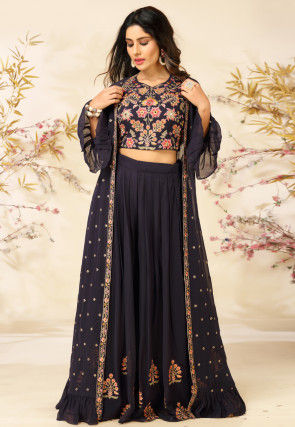 Embroidered Georgette Top with Sharara in Dusty Purple
